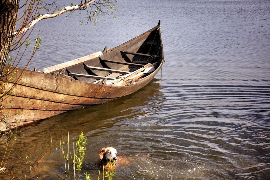 Oscar and boat